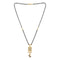 Kriaa White Austrian Stone And Black Beads Gold Plated Mangalsutra - FBG0058B