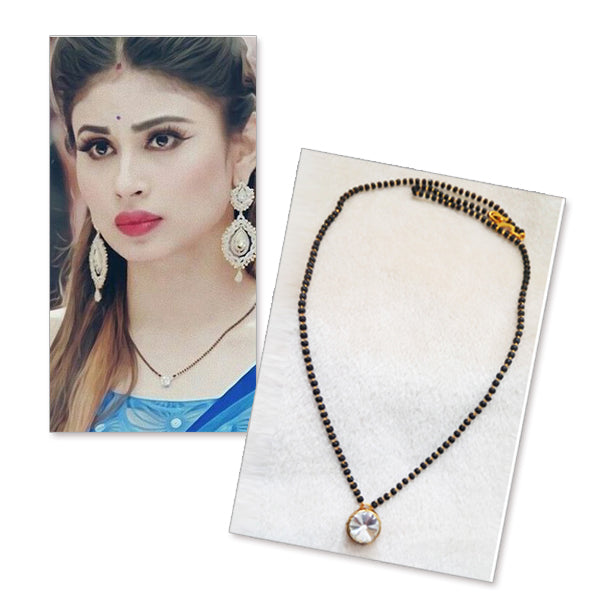 Kriaa White Glass StoneGold Plated Mangalsutra