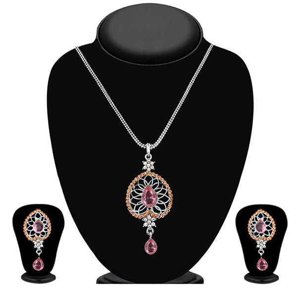 Kriaa Silver Plated Pink Austrian Stone Pendant Set