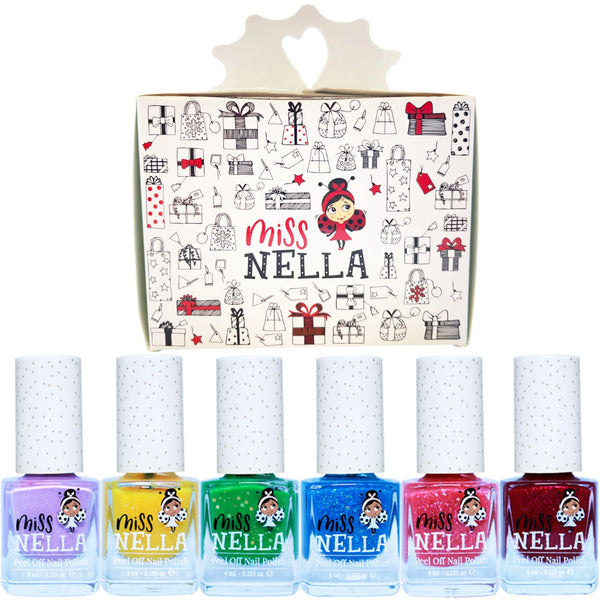 Christmas Glitter Pack of 6 Non Toxic Nail Polishes