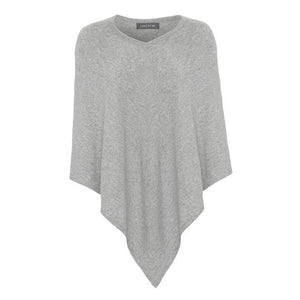 Poncho, light grey, cashmere