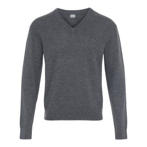 Herre sweater, V neck, grå, 100% uld
