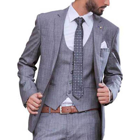 Diner's 3 Pcs Suit in Grey SKU: DA1068-GREY