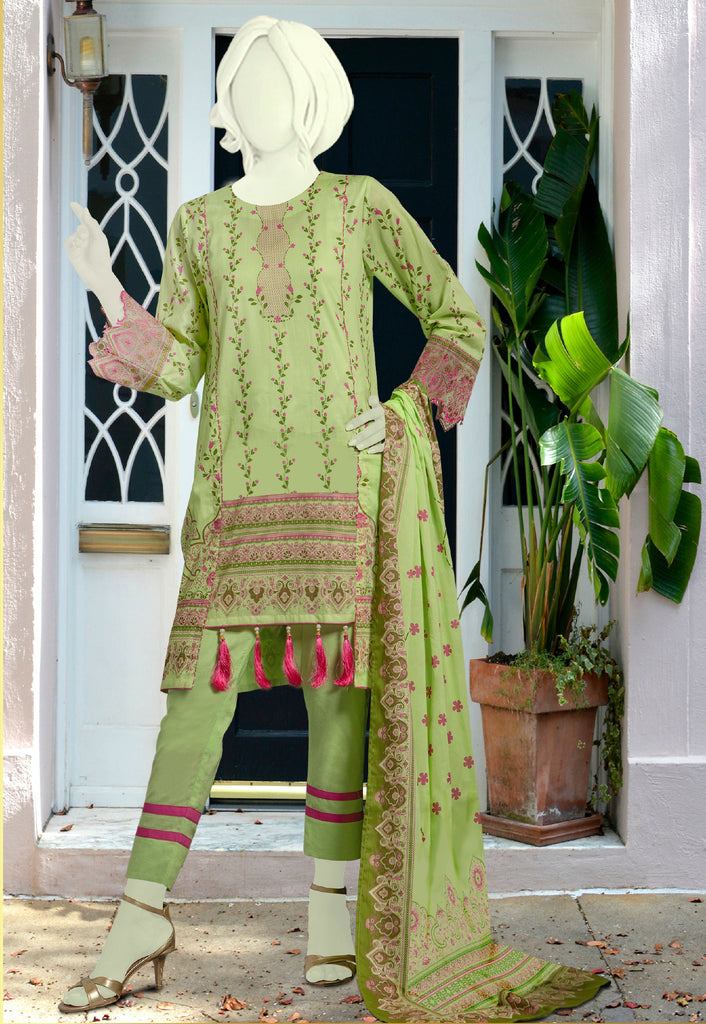 Unstitched Deluxe SKU: WU30184-Green-(3 Pcs) - Diners