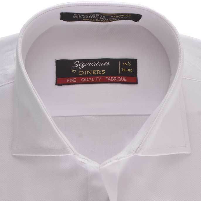 Formal Men Shirt in White SKU: AB16840-White