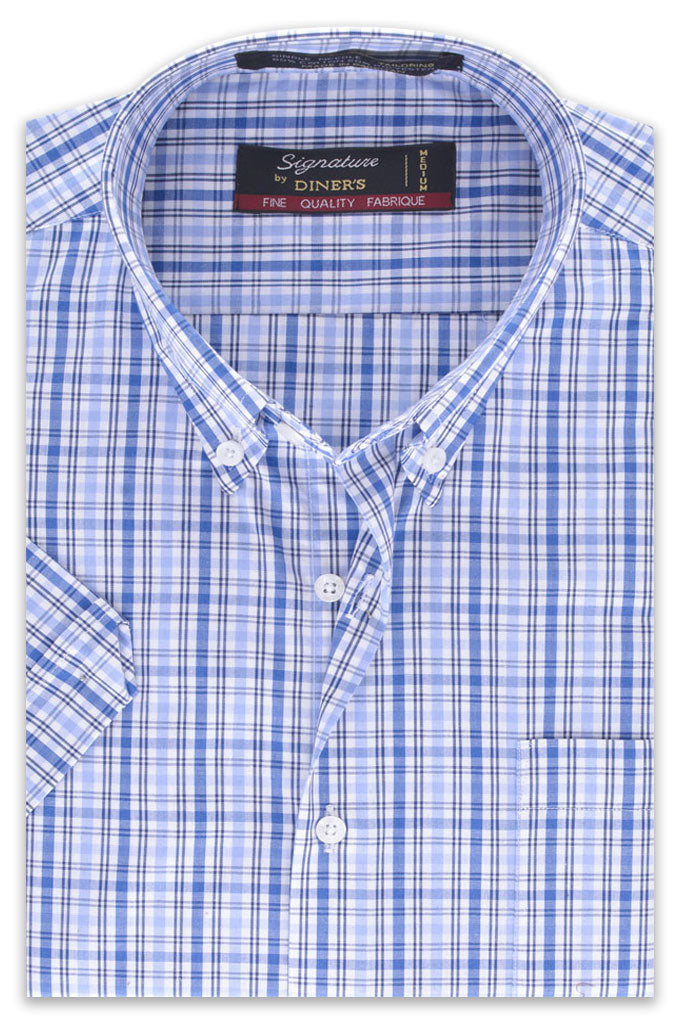 Formal Man Shirt in Blue (Half Sleeves) SKU: AB19406-BLUE