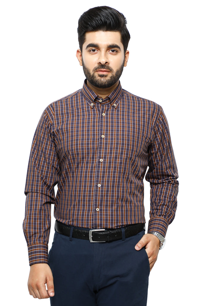 Formal Checkered Shirt in Brown SKU: AB19552-Brown - Diners