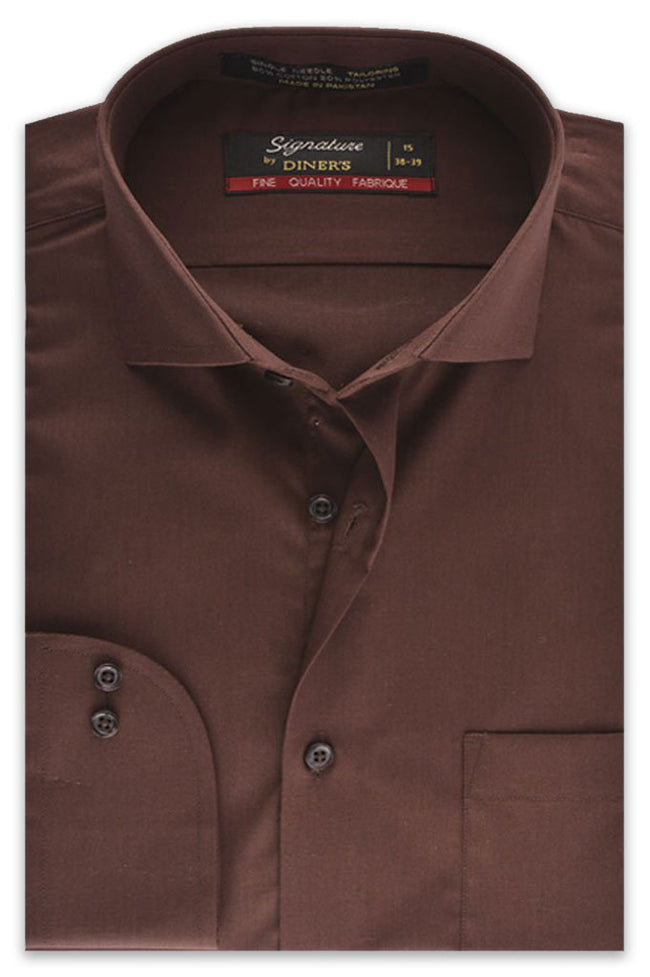 Formal Plain Shirt In Brown SKU: AB203-Brown