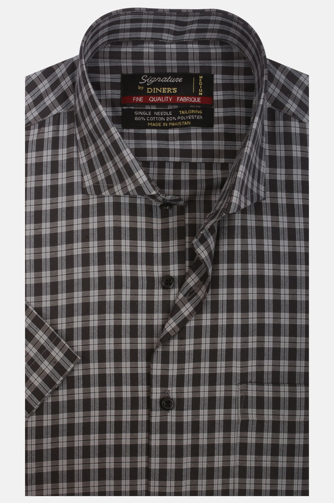 Formal Check Shirt (Half Sleeves) AB21228-GREY