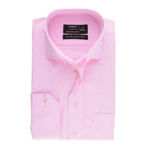 Formal Plain Shirt in Pink SKU: AD12457-Pink