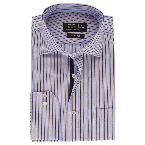 Luxury Formal Stripe Shirt in Sky Blue SKU: AD15342-SKY-BLUE