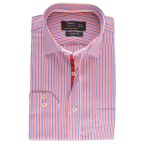 Luxury Formal Stripe Shirt in Rust SKU: AD15543-RUST