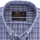 Formal Check Shirt in L-Blue (Half Sleeves) SKU: AD17675-L-BLUE