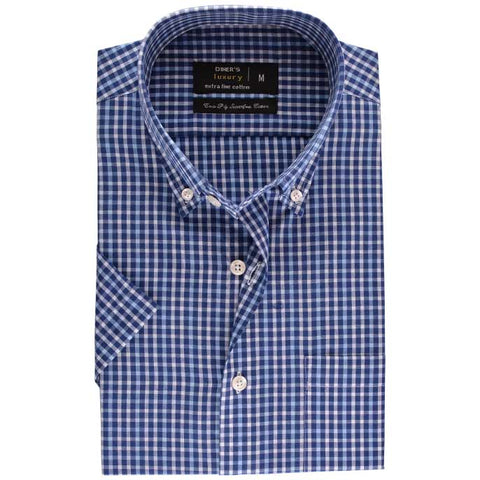 Formal Check Shirt SKU: AD17717-N-BLUE (Half Sleeve)