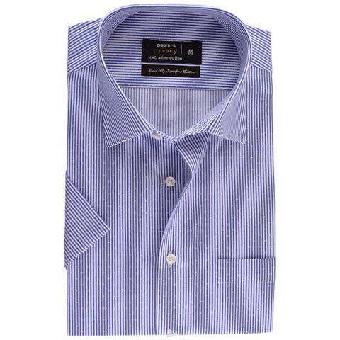 Formal Half Sleeves Shirt in D-Blue SKU: AD17733-D-Blue