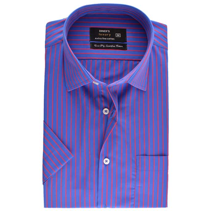 Formal Check Shirt in R-Blue (Half Sleeves) SKU: AD17739-R-BLUE