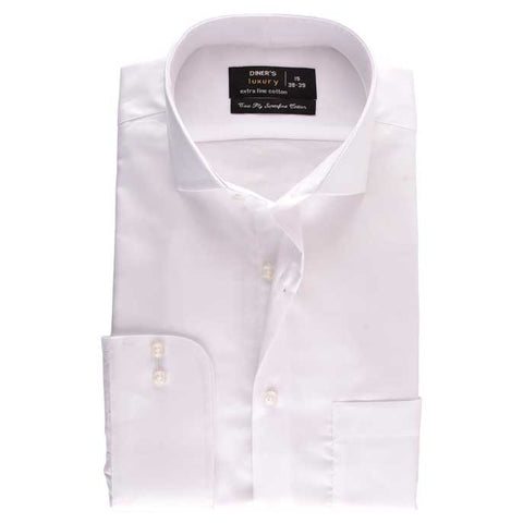 Formal Check Shirt in White SKU: AD18141-White