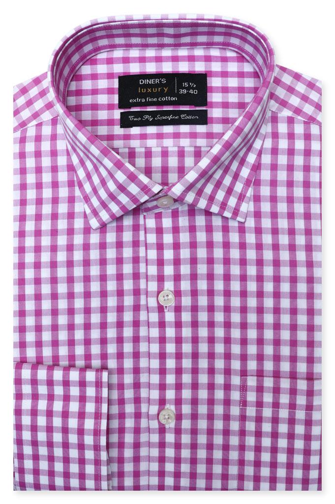 Formal Checkered Shirt SKU: AD19261-Purple - Diners