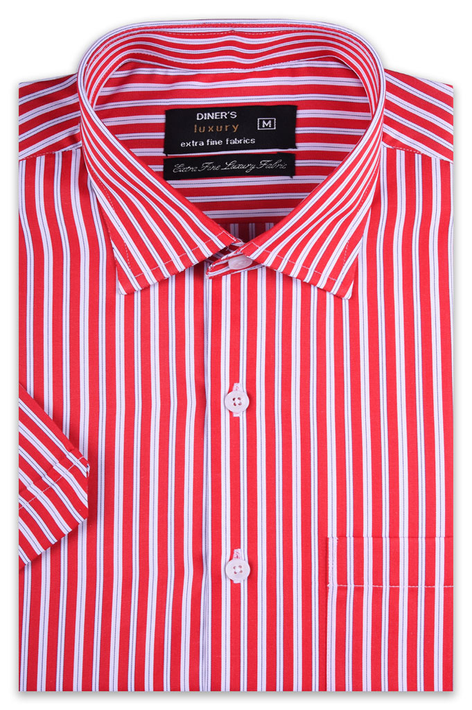 Formal Man Shirt in Red (Half Sleeves) SKU: AD19365-RED - Diners