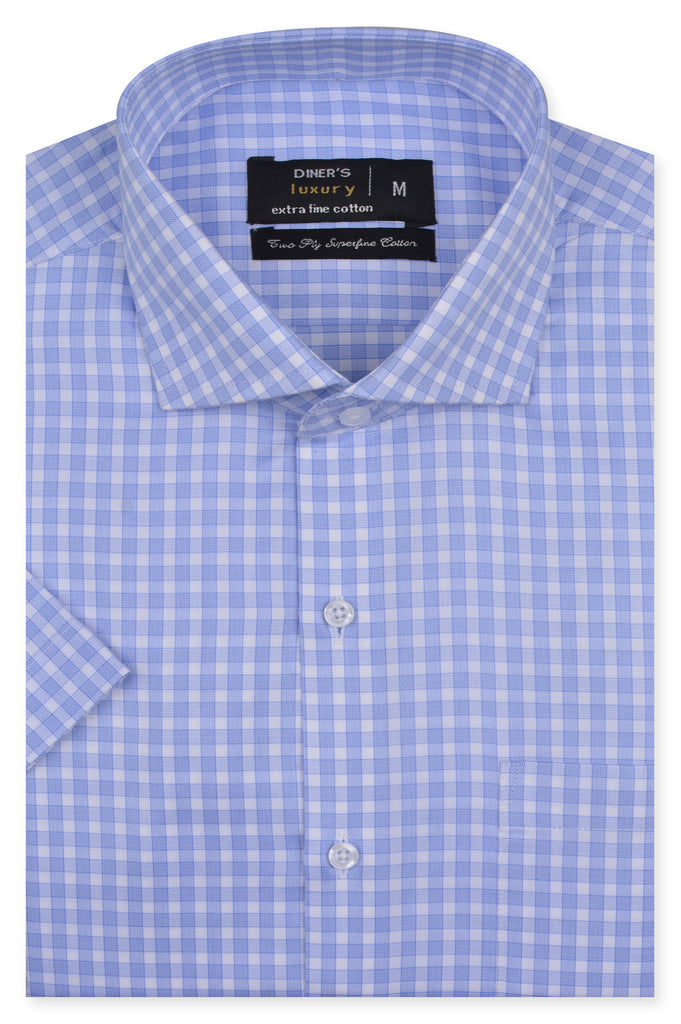 Formal Check Shirt in Light Blue (Half Sleeves) AD20017-Light-Blue - Diners