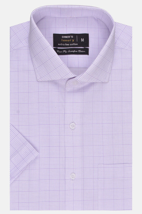 Formal Check Shirt in Purple (Half Sleeves) AD20021-Purple