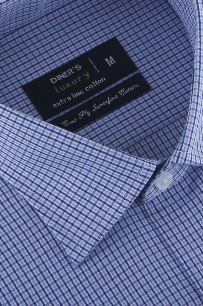 Formal Check Shirt in Blue (Half Sleeves) AD20024-Blue - Diners