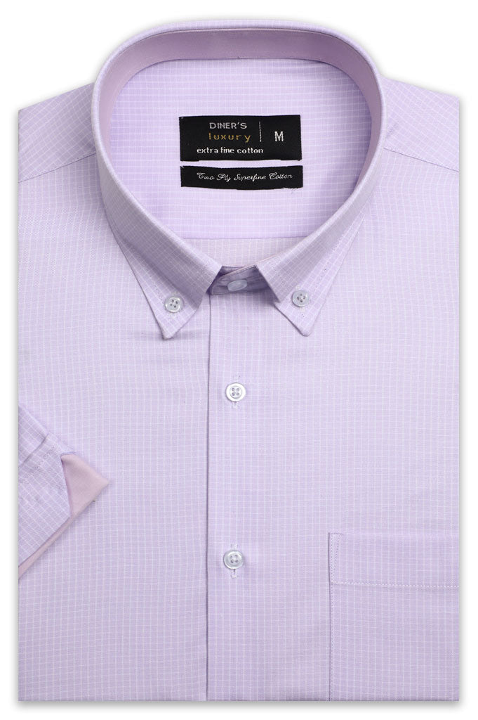 Formal Check Shirt (Half Sleeves) AD21404-Pink - Diners