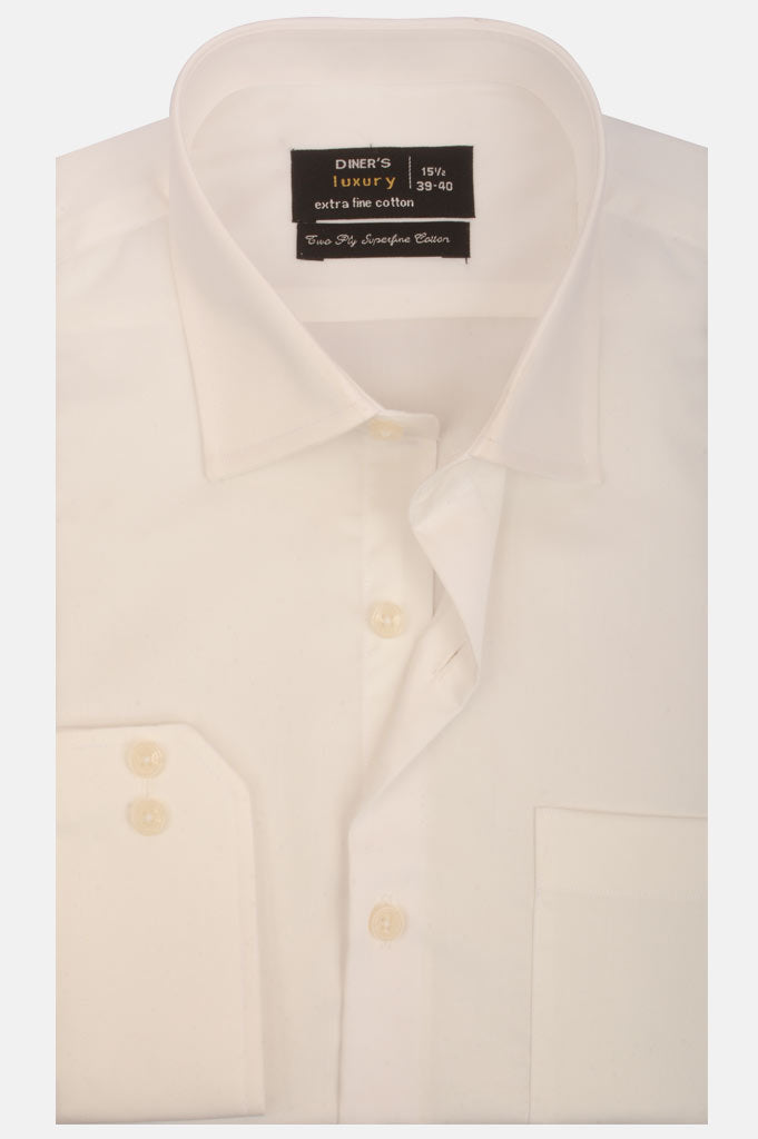 Formal Plain Shirt in Off-White SKU: AD5074-OFFWHITE - Diners