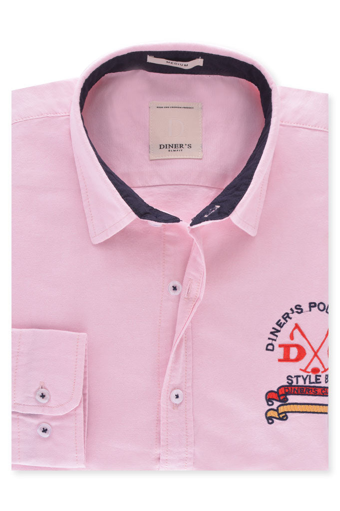 Casual Shirt in L-Pink SKU: AG18543-L-Pink - Diners