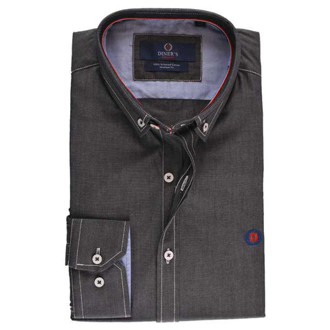 Casual Autograph Shirt in D-Grey SKU: AH15735-D-GREY