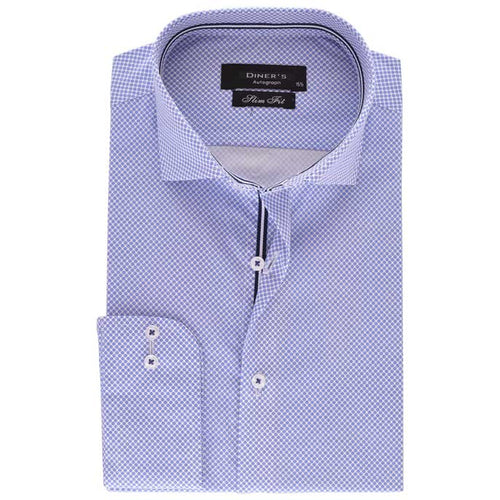 Casual Autograph Shirt in L-Blue SKU: AH18137-L-BLUE