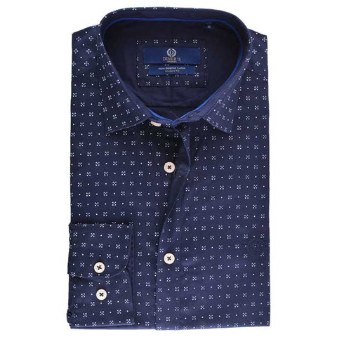 Casual Autograph Shirt in N-Blue SKU: AH18402-N-BLUE