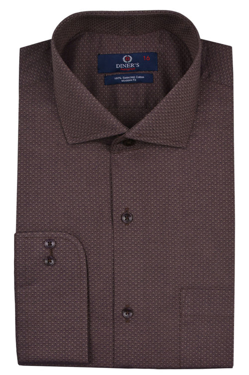 Casual Autograph Shirt in Brown SKU: AH19296-Brown