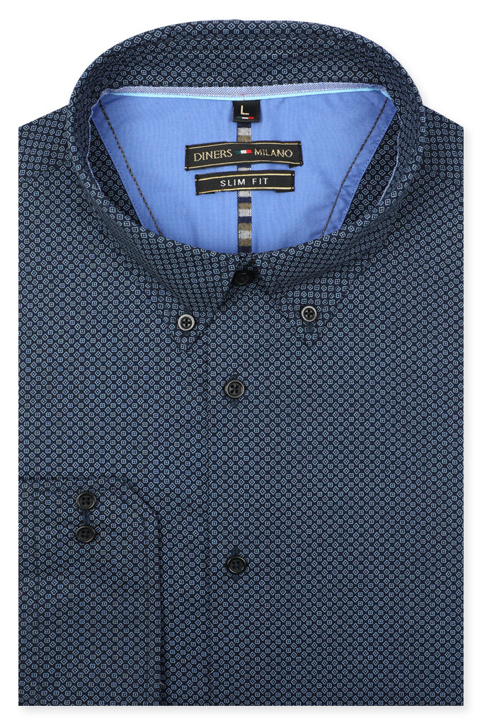 Casual Milano Shirt SKU: AM22002-N-BLUE - Diners