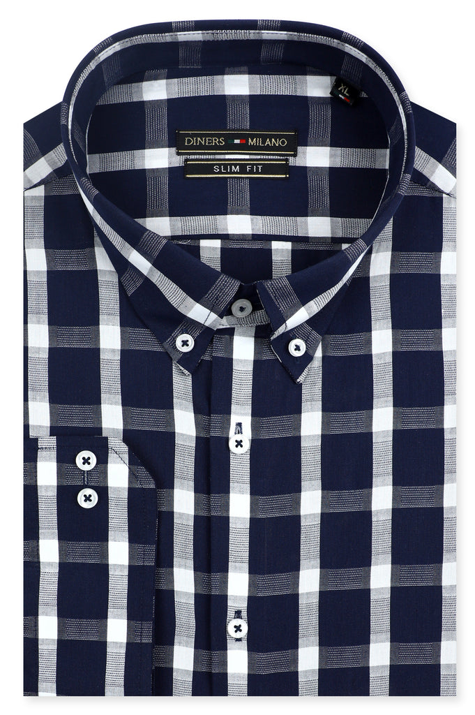 Casual Milano Shirt in N-Blue SKU: AM24820-N-BLUE - Diners