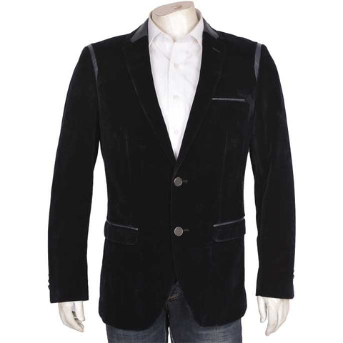 Two Button Velvet Mens Blazer (CA3835-N-BLUE)