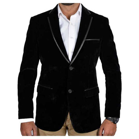 Two Button Regular Mens Valvet Blazer In BLACK SKU: CA3839-BLACK