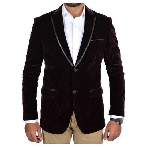 Two Button Regular Mens Valvet Blazer in Dark Purple SKU: CA3839-D-PURPLE