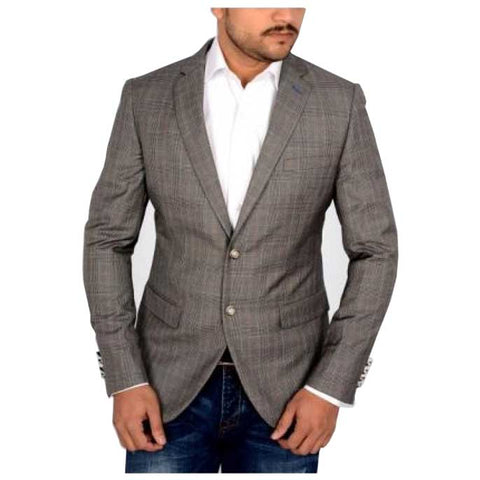 Two Button Regular Mens Blazer in Grey SKU: CA3852-GREY