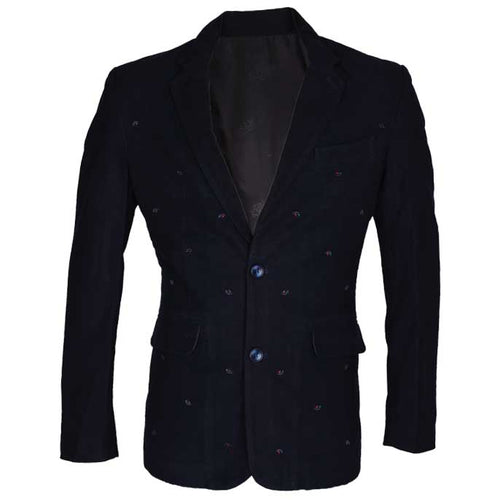 Two Button Regular Mens Blazer In Navy Blue SKU: CF3837-N-BLUE
