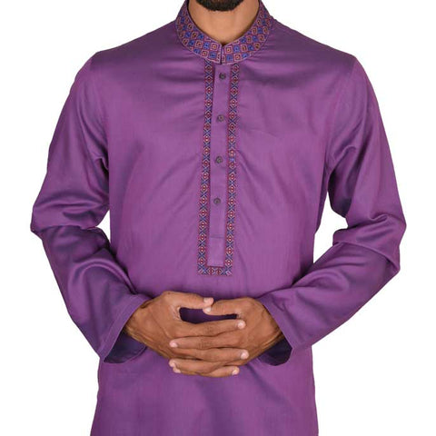 Kurta For Men In Purple SKU: EA2138-PURPLE