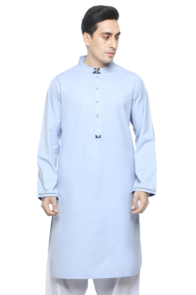 Formal Kurta In Sky Blue SKU: EA2802-SKY BLUE - Diners