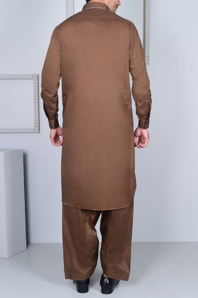 Formal Shalwar Suit for Men EG2602-BROWN