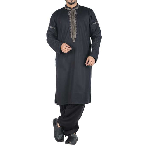 Formal Shalwar Suit In Black SKU: EG2335-BLACK