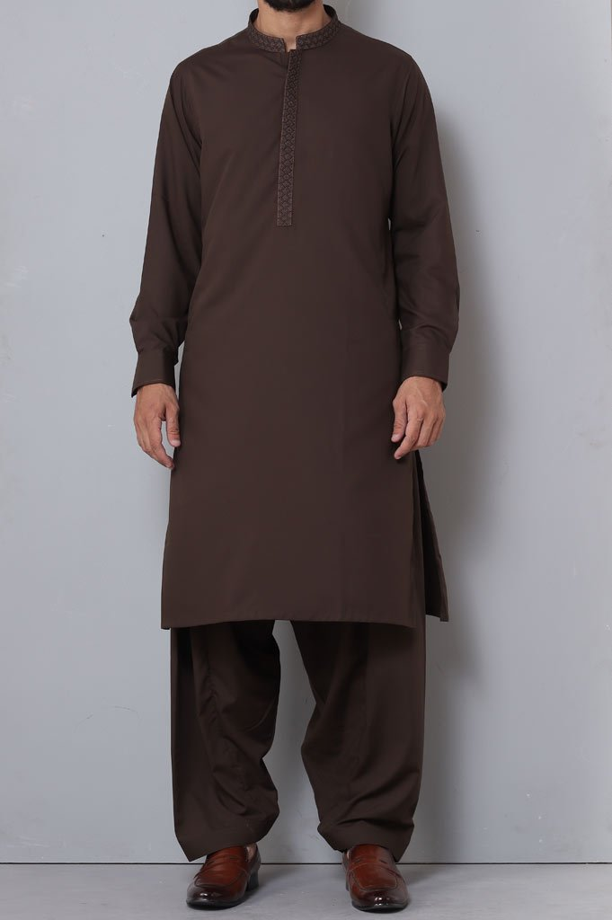 Formal Shalwar Suit for Man SKU: EG2743-Brown