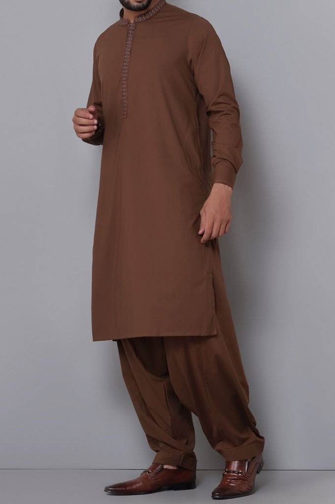 Formal Shalwar Suit for Man SKU: EG2752-Brown