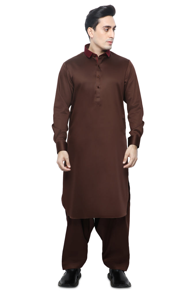 Formal Shalwar Suit for Men SKU: EG2834-C-BROWN - Diners