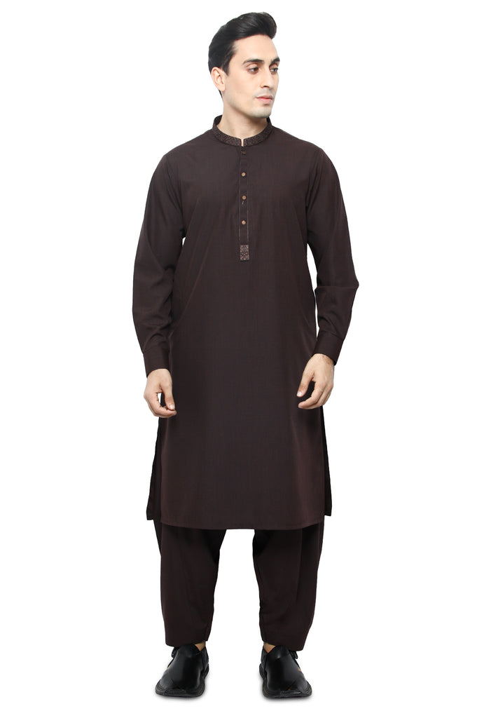 Formal Shalwar Suit for Men SKU: EG2840-C-BROWN - Diners
