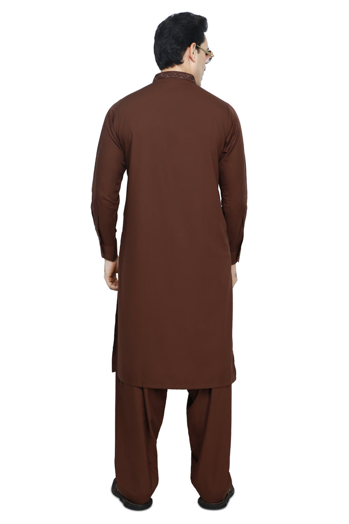 Formal Shalwar Suit for Men SKU: EG2873-C-BROWN - Diners