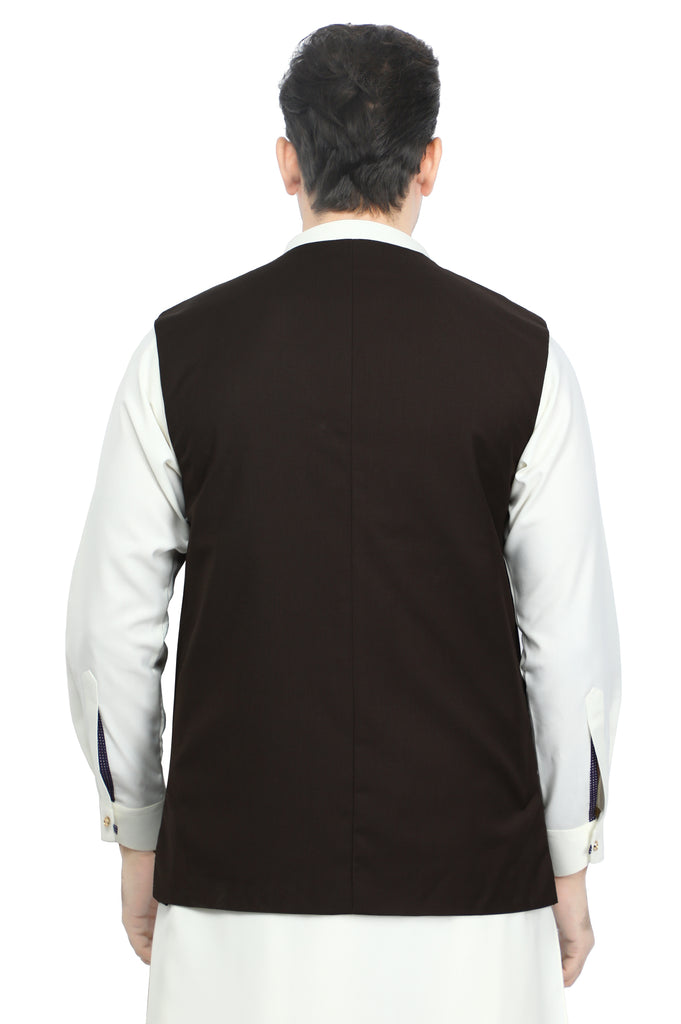 Waist coat For Men SKU: GA3384-D-BROWN - Diners